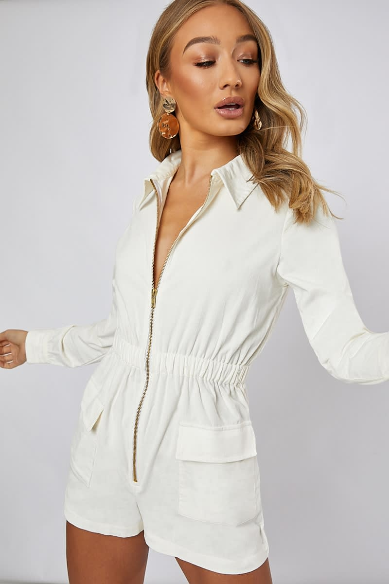 ivory cord utility playsuit