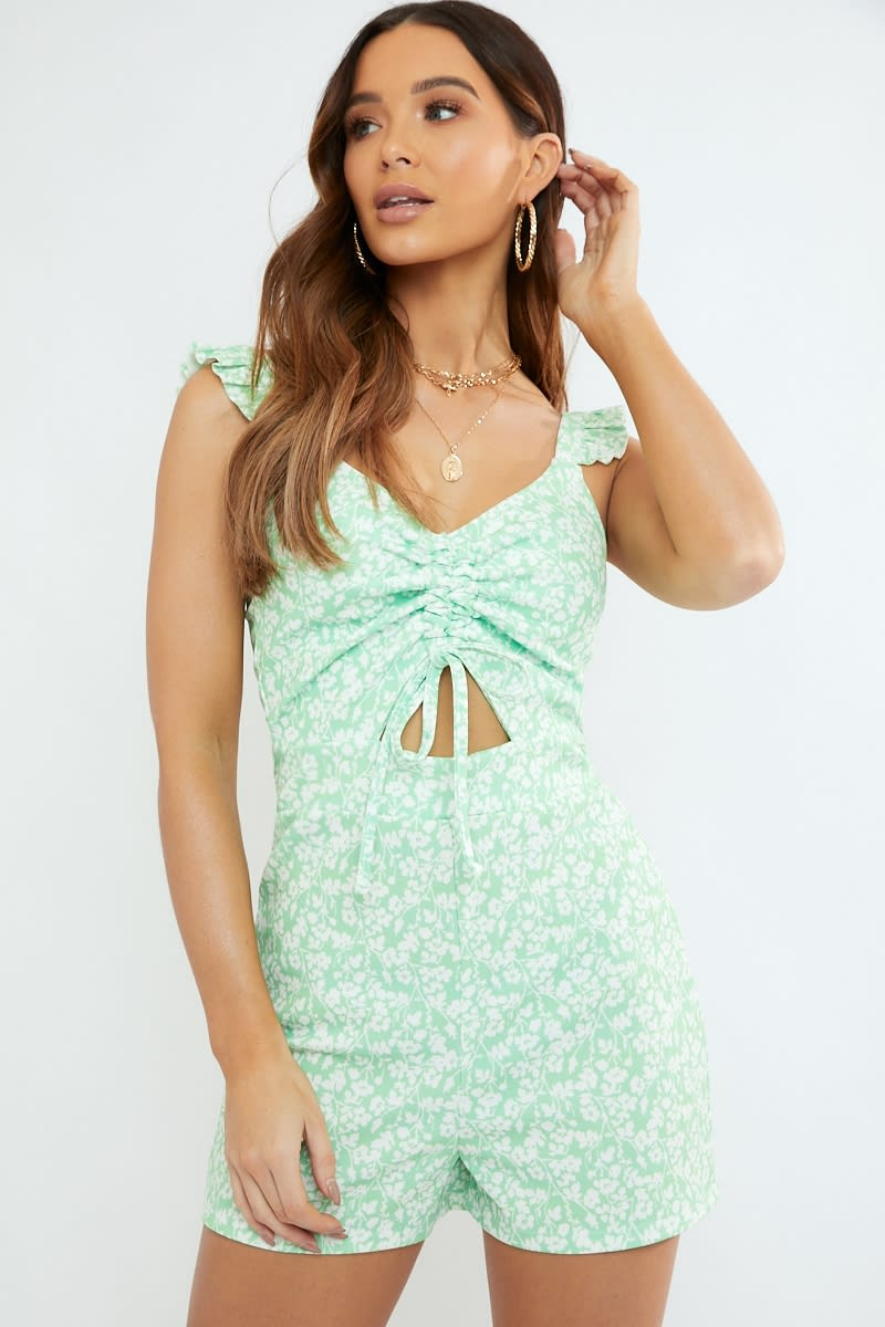 sage ditsy floral print ruffle cut out playsuit