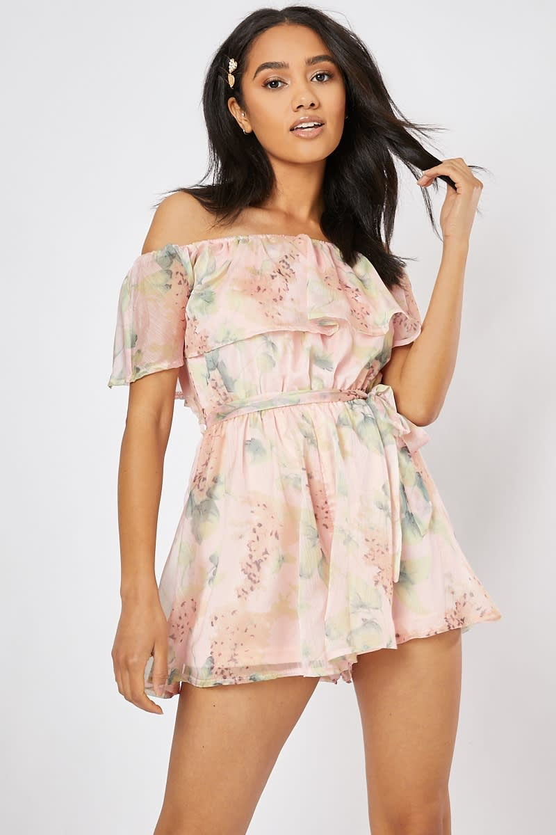 pink floral bardot frill playsuit