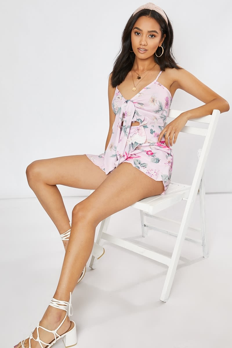 pink floral cut out tie front playsuit