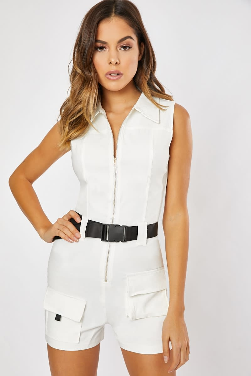 white pocket detail buckle playsuit
