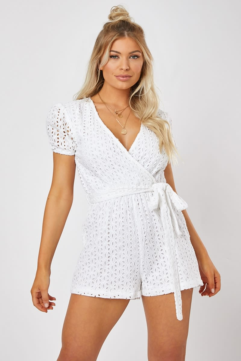 white broderie anglaise wrap playsuit