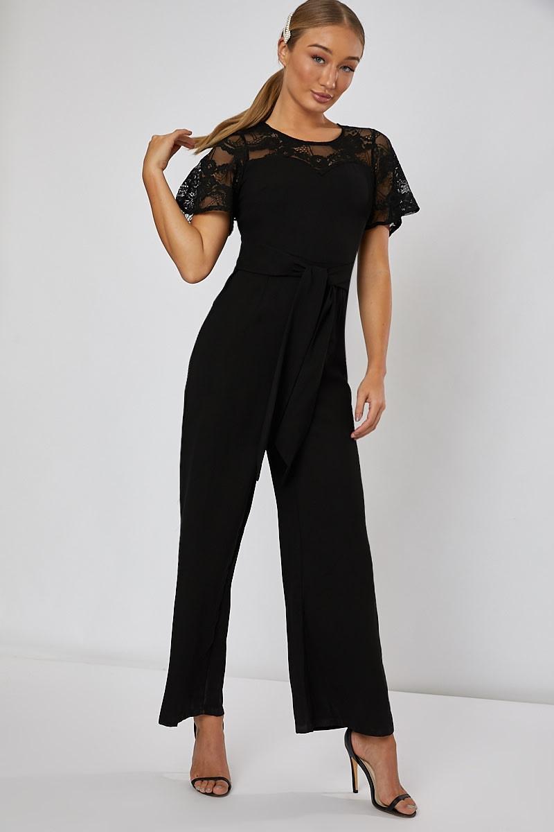black lace wrap front wide leg jumpsuit