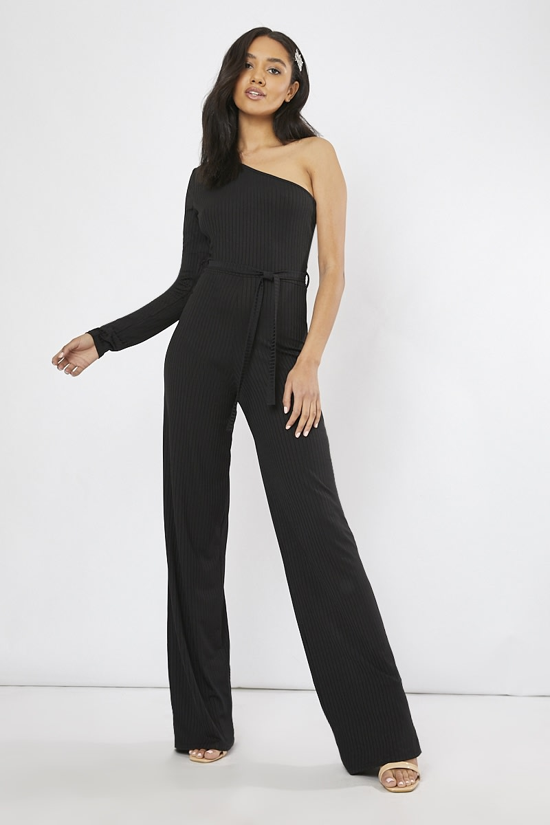 black ribbed one shoulder wide leg jumpsuit