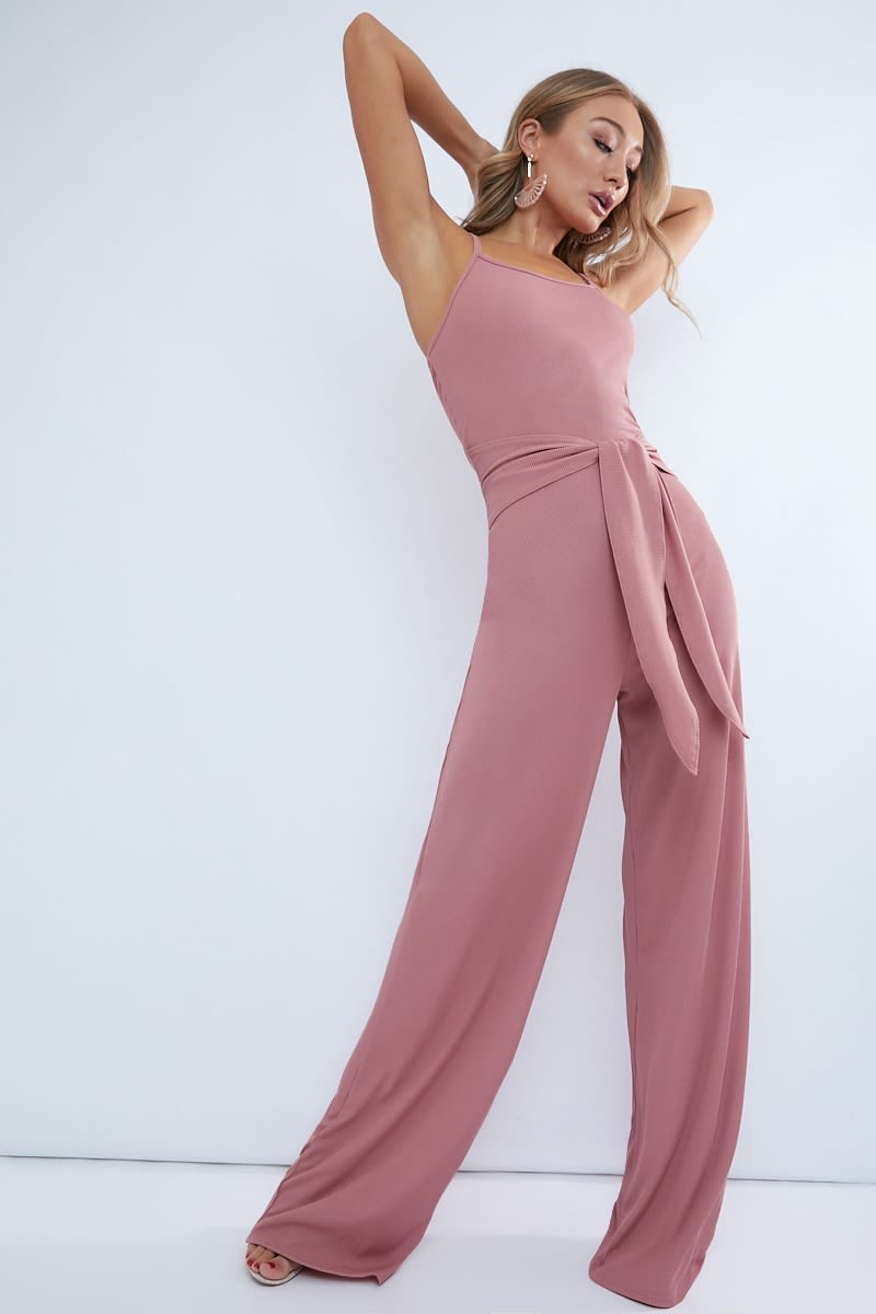 blush ribbed wide leg tie waist jumpsuit
