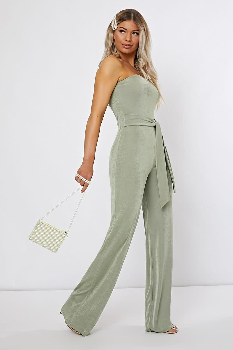 green slinky bandeau jumpsuit