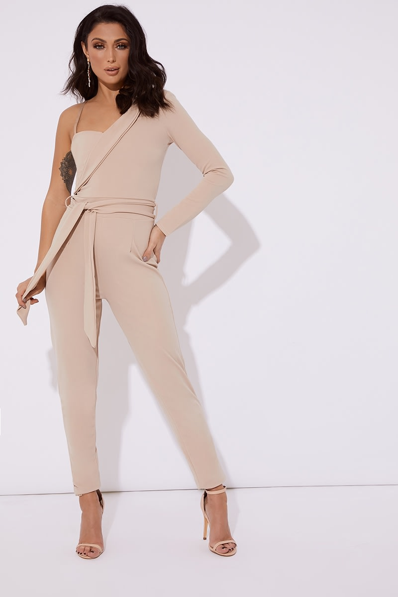 stone asymmetric one shoulder tux jumpsuit