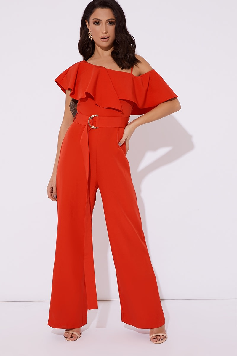 red frill one shoulder belted wide leg jumpsuit