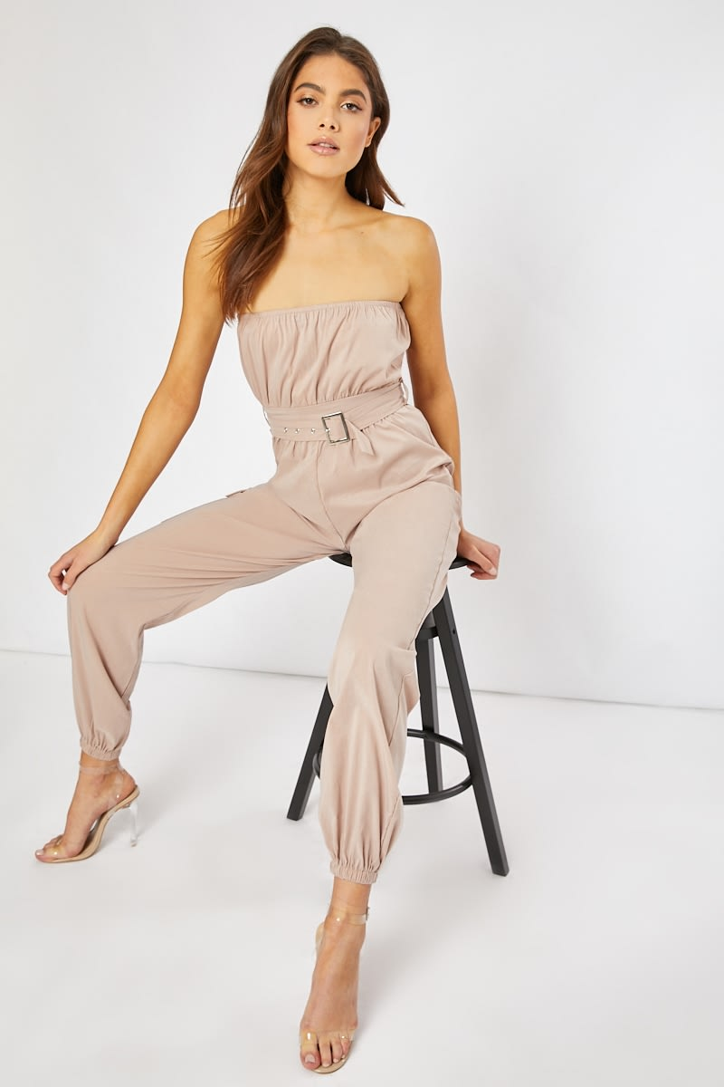 stone belted bandeau boilersuit
