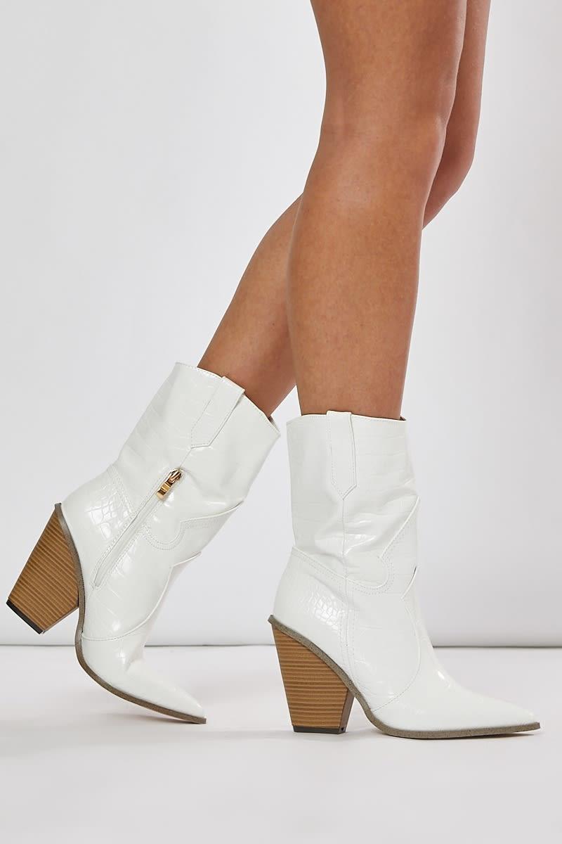 white croc heeled western boots