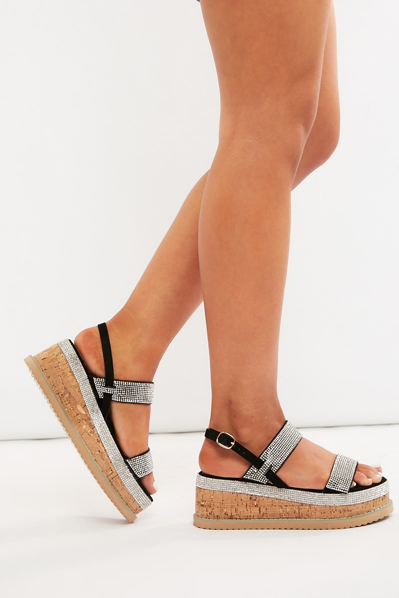 black diamante platform sandals