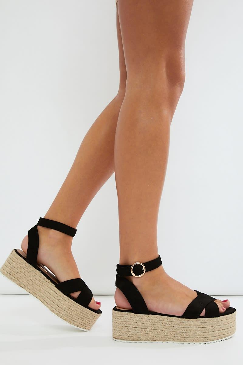 black faux suede cross strap espadrilles