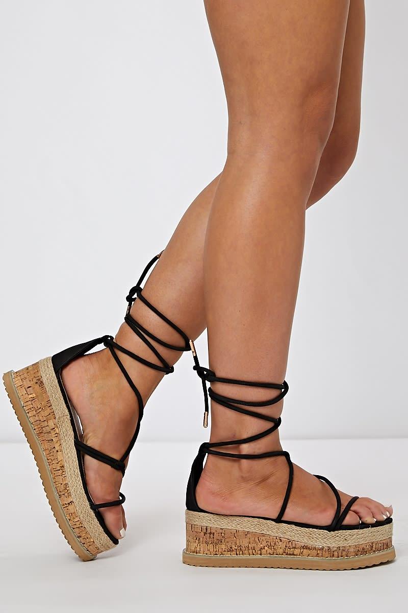black skinny multi strap espadrilles