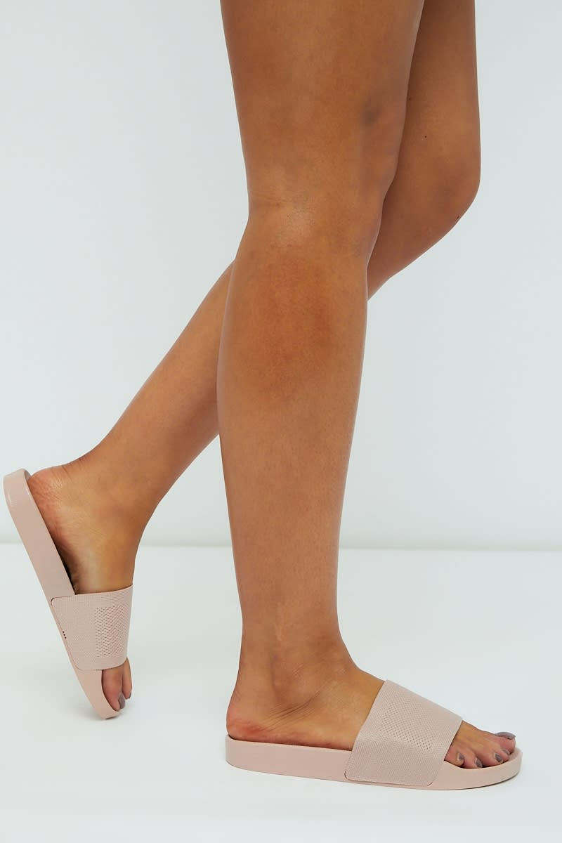nude knitted sliders
