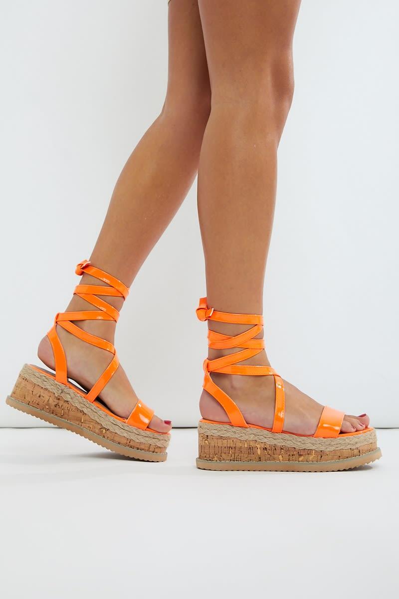neon orange espadrilles