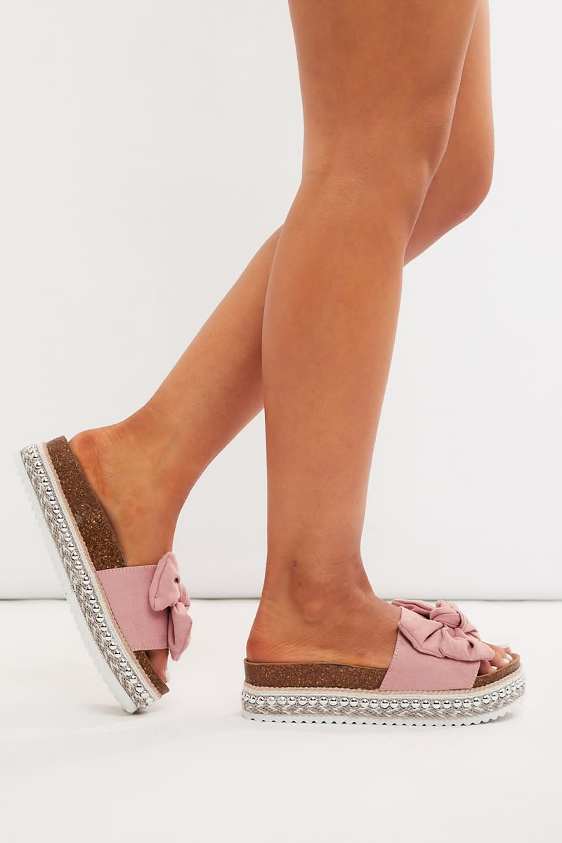pink faux suede bow detail sliders
