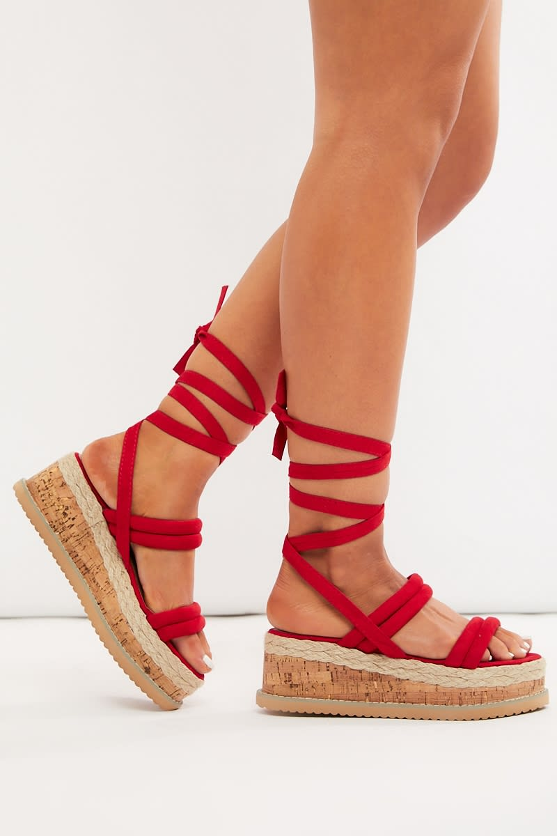 red faux suede espadrilles