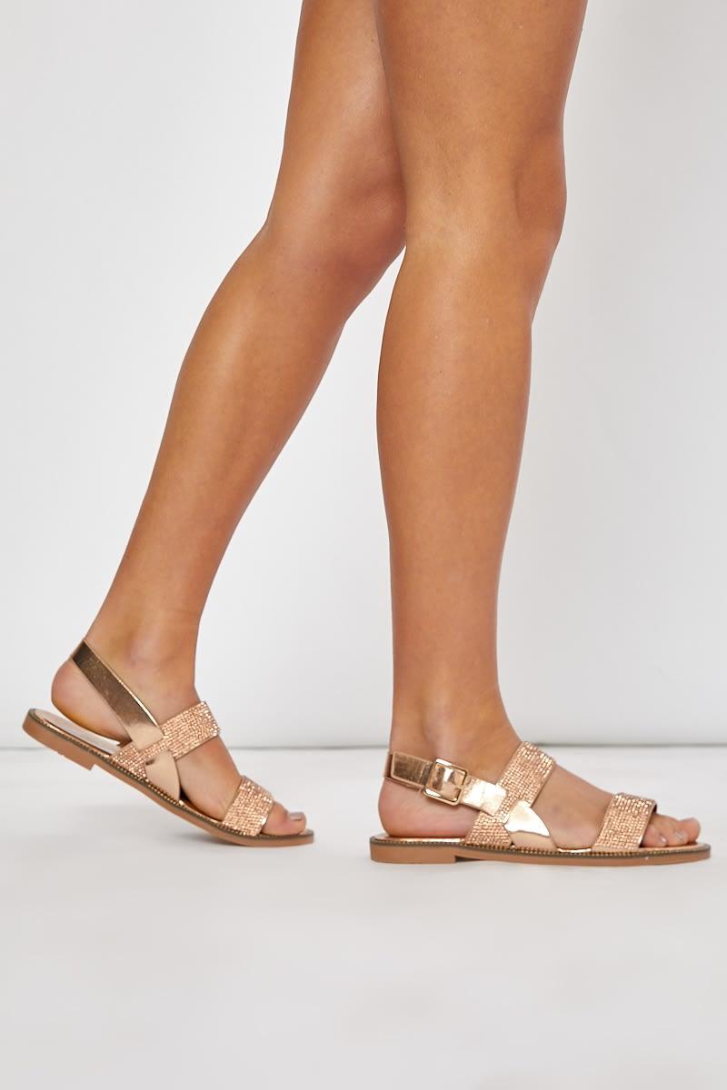 rose gold diamante sandals