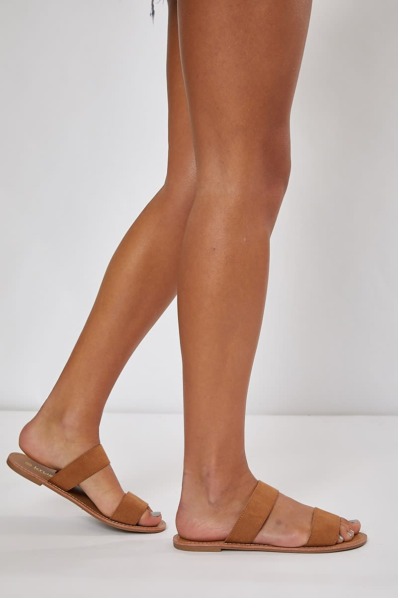 tan two strap slidders