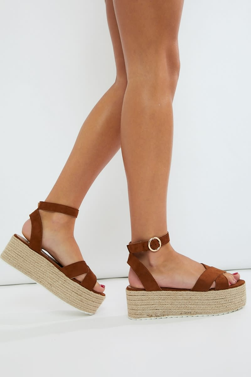 tan faux suede cross strap espadrilles