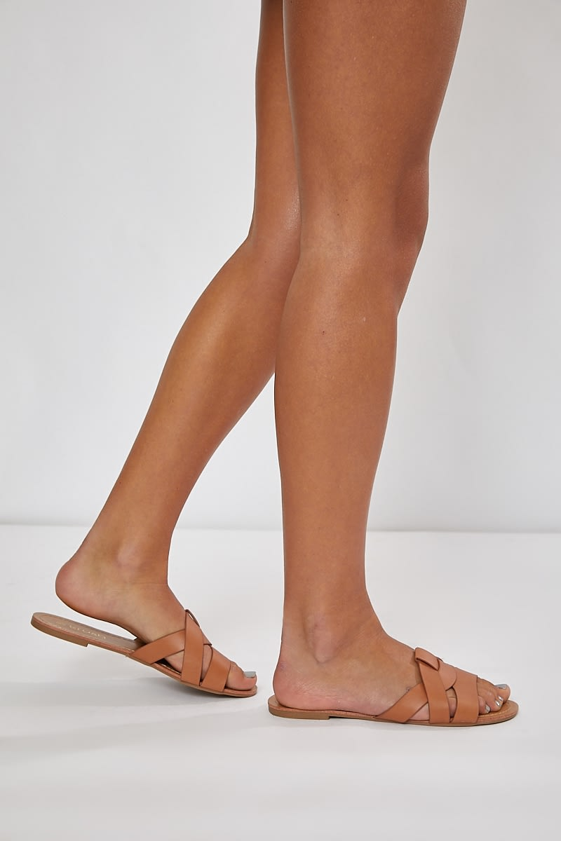 tan plaited detail strap sliders