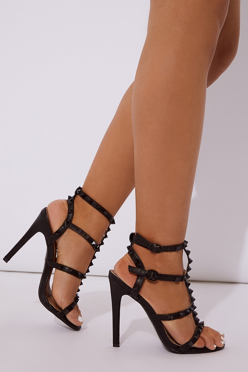black pu studded heels