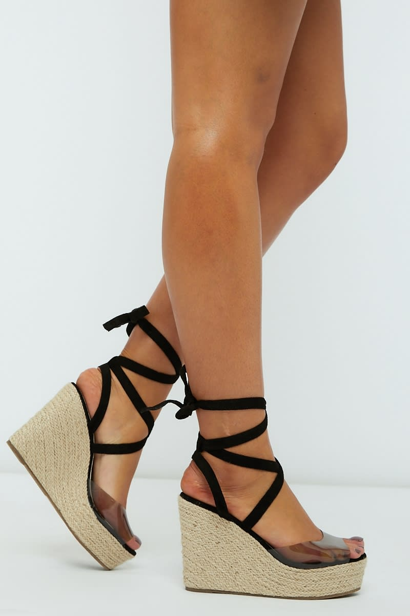 black clear strap multi tie wedges