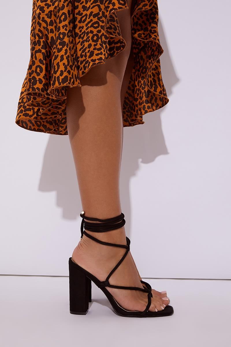 black faux suede multi tie block heels