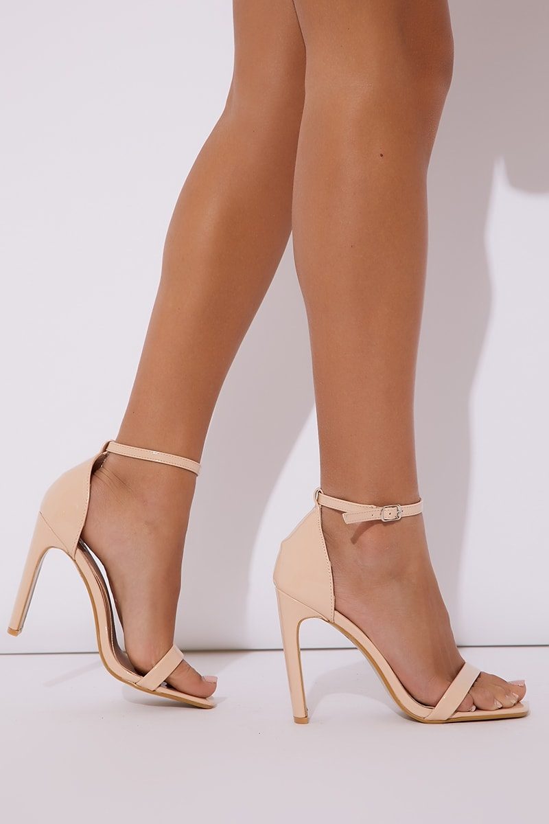 cream patent barely there heels