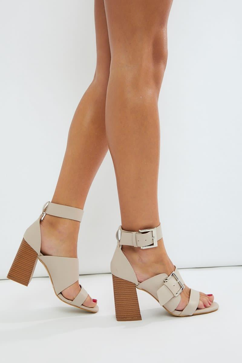 nude pu buckle detail heels