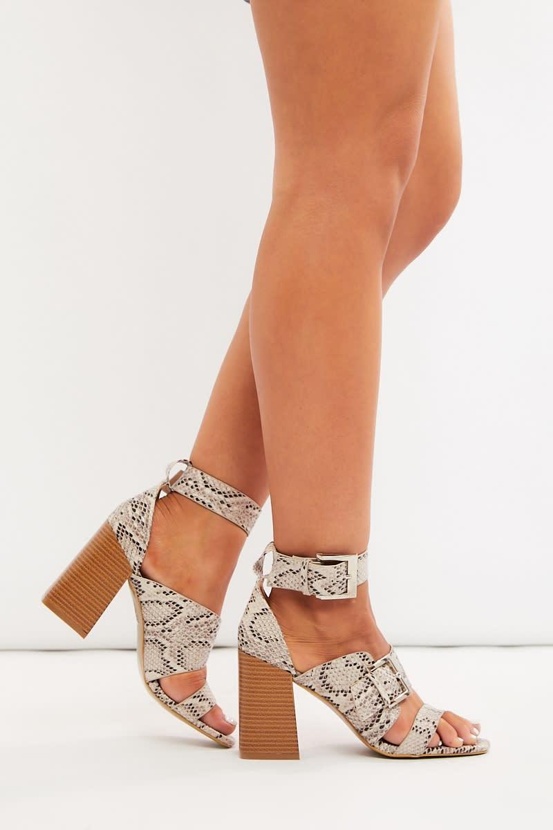natural snake buckle detail heels