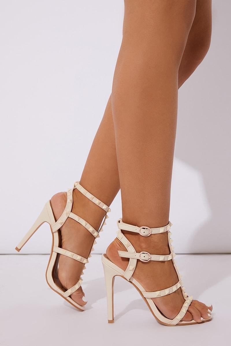 nude pu studded heels