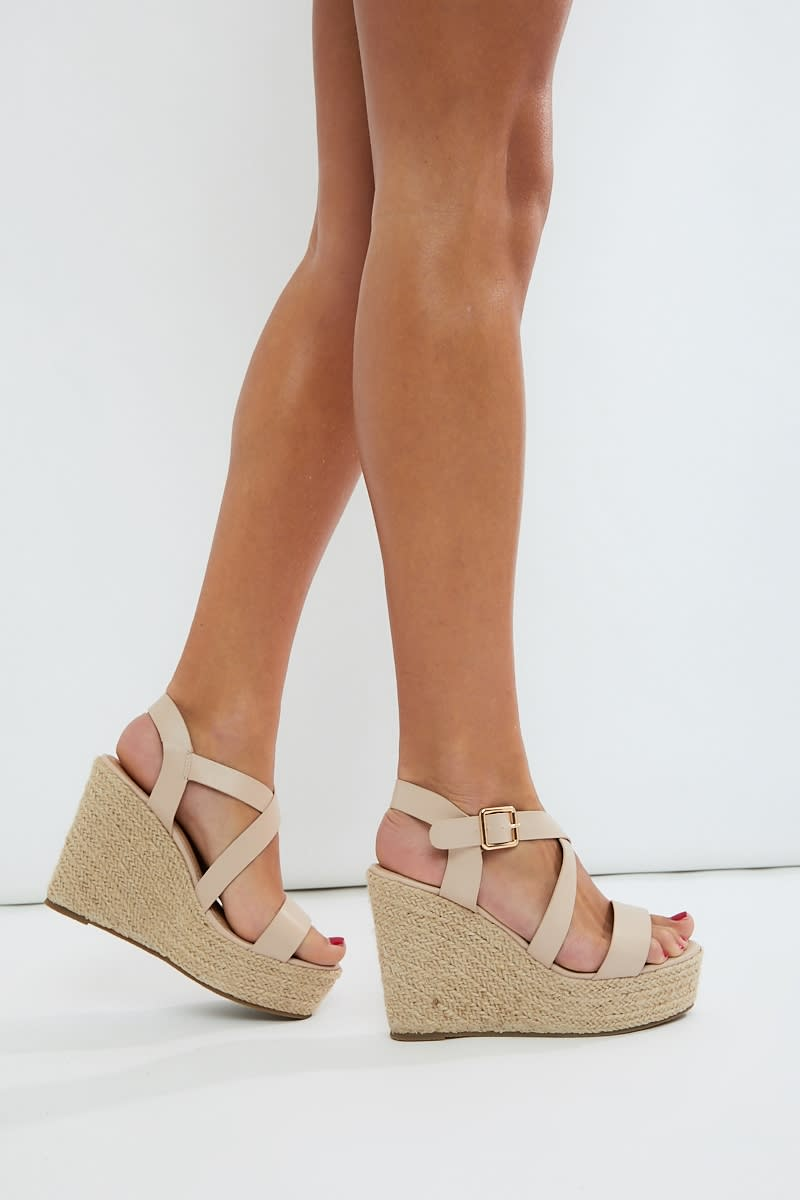 nude cross strap wedges