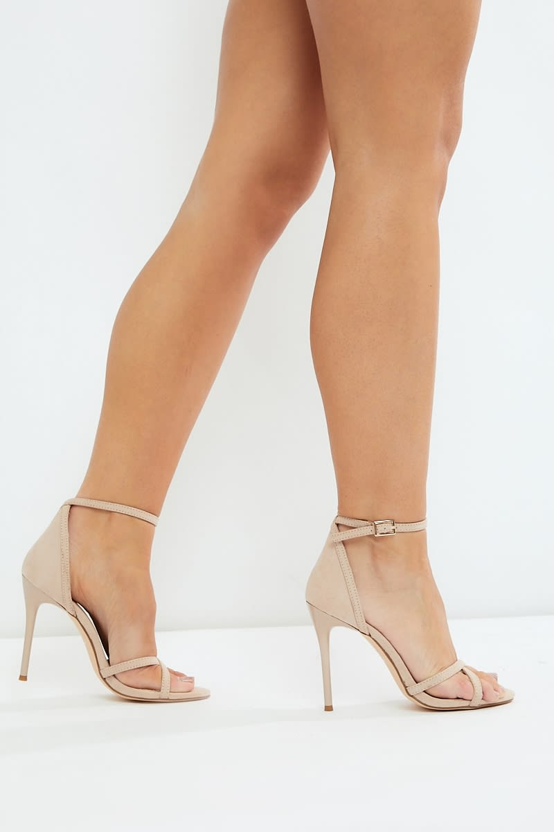 nude faux suede barely there heels