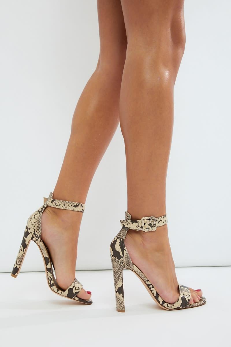 nude snake skinny flat heel