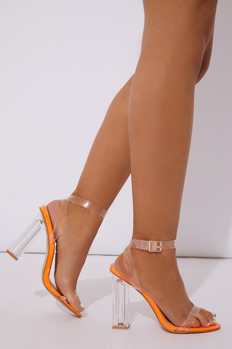 neon orange clear strap block heels