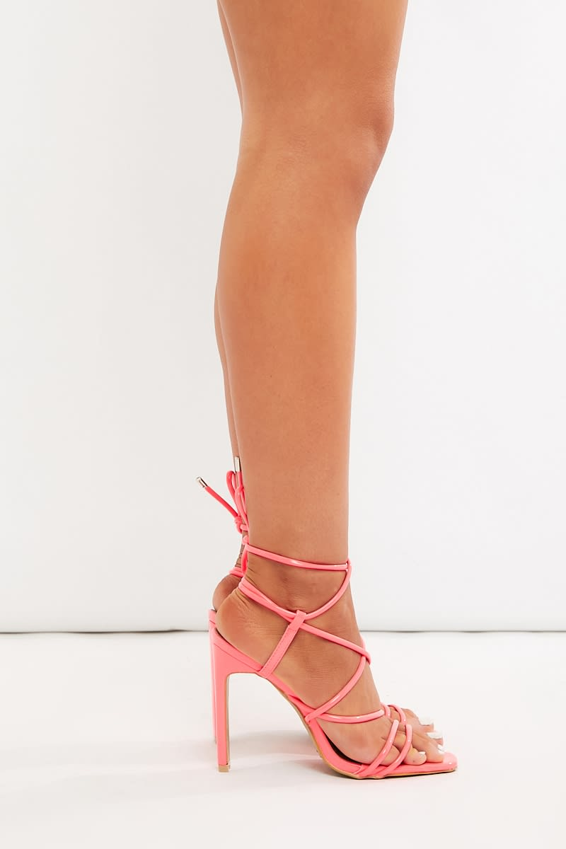 Neon Pink Lace Up Heels | In The Style