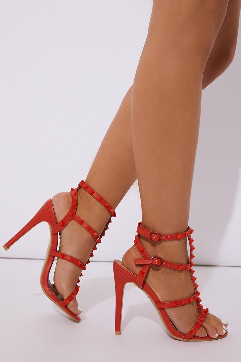 red pu studded heels