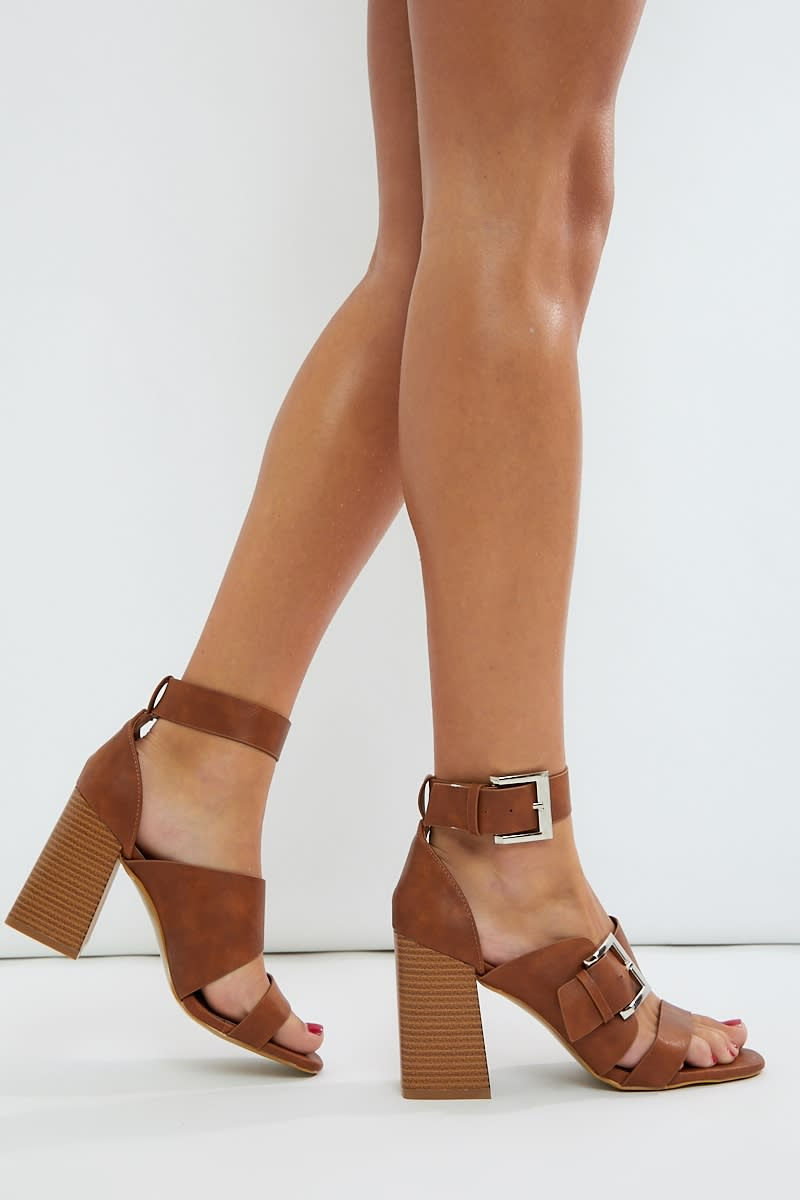 tan pu buckle detail heels