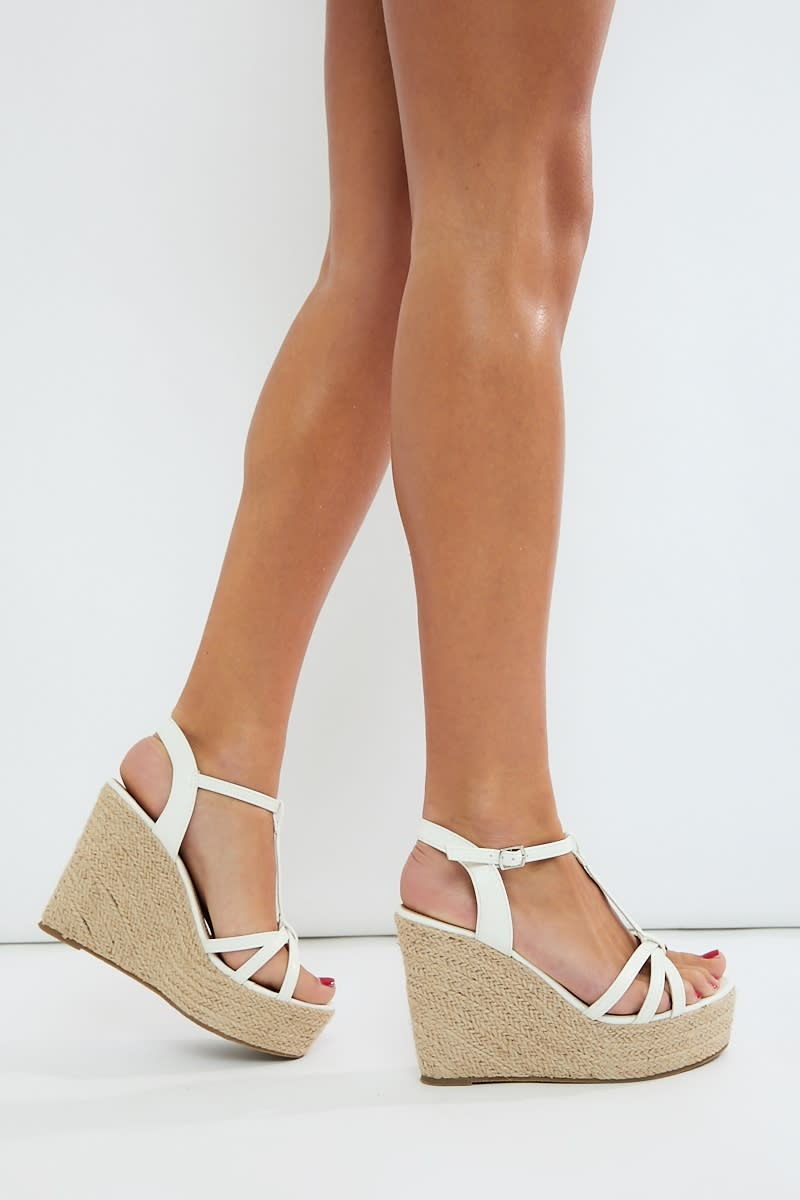 white three strap detail wedges