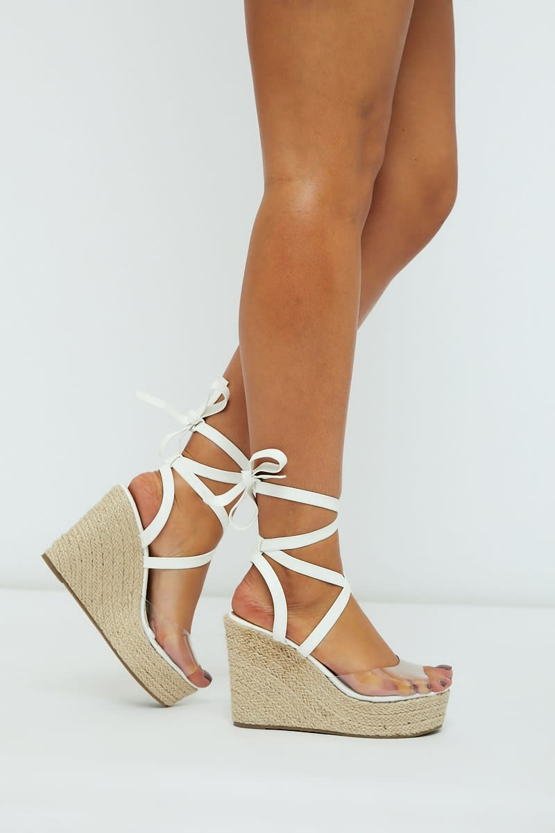 white clear strap multi tie wedges
