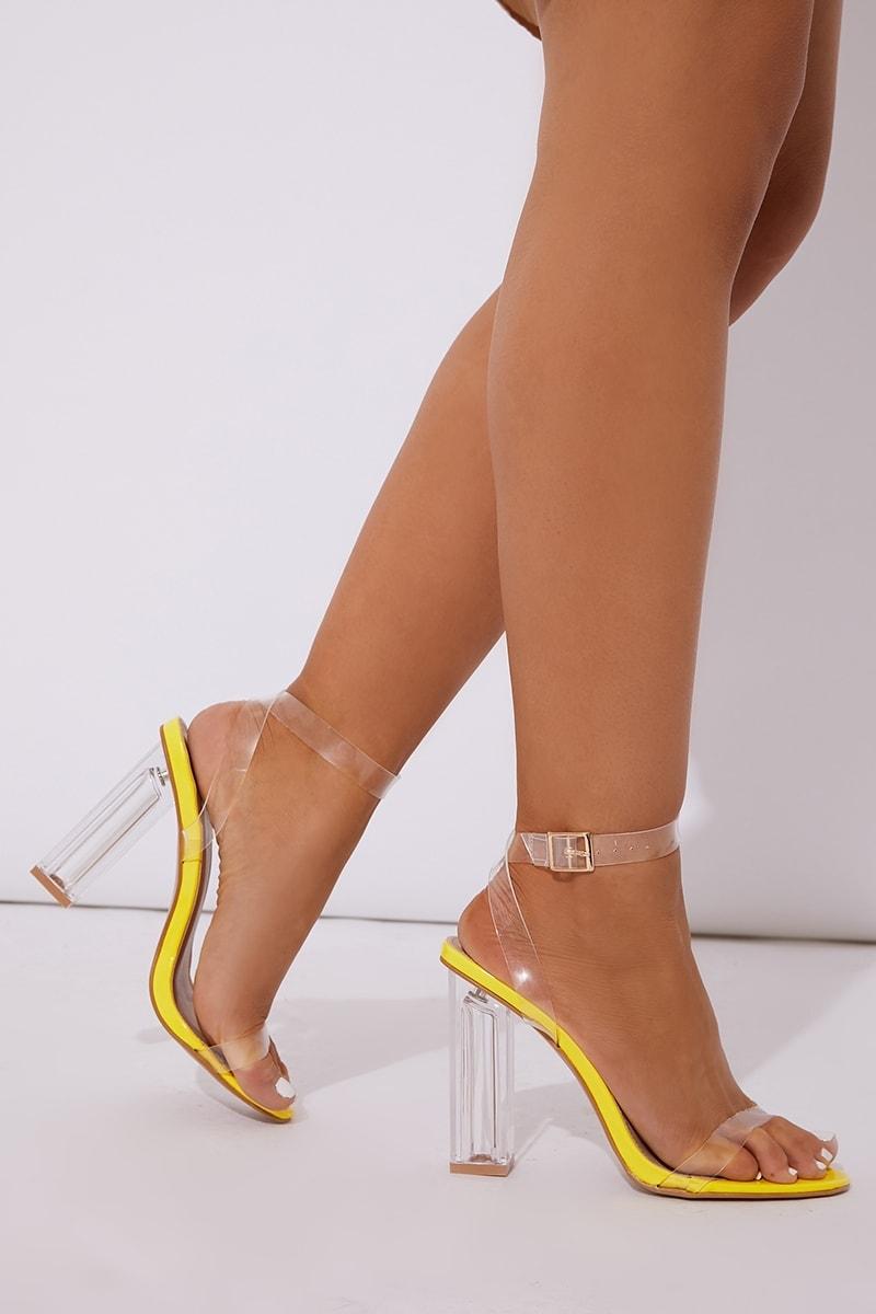 neon yellow clear strap block heels