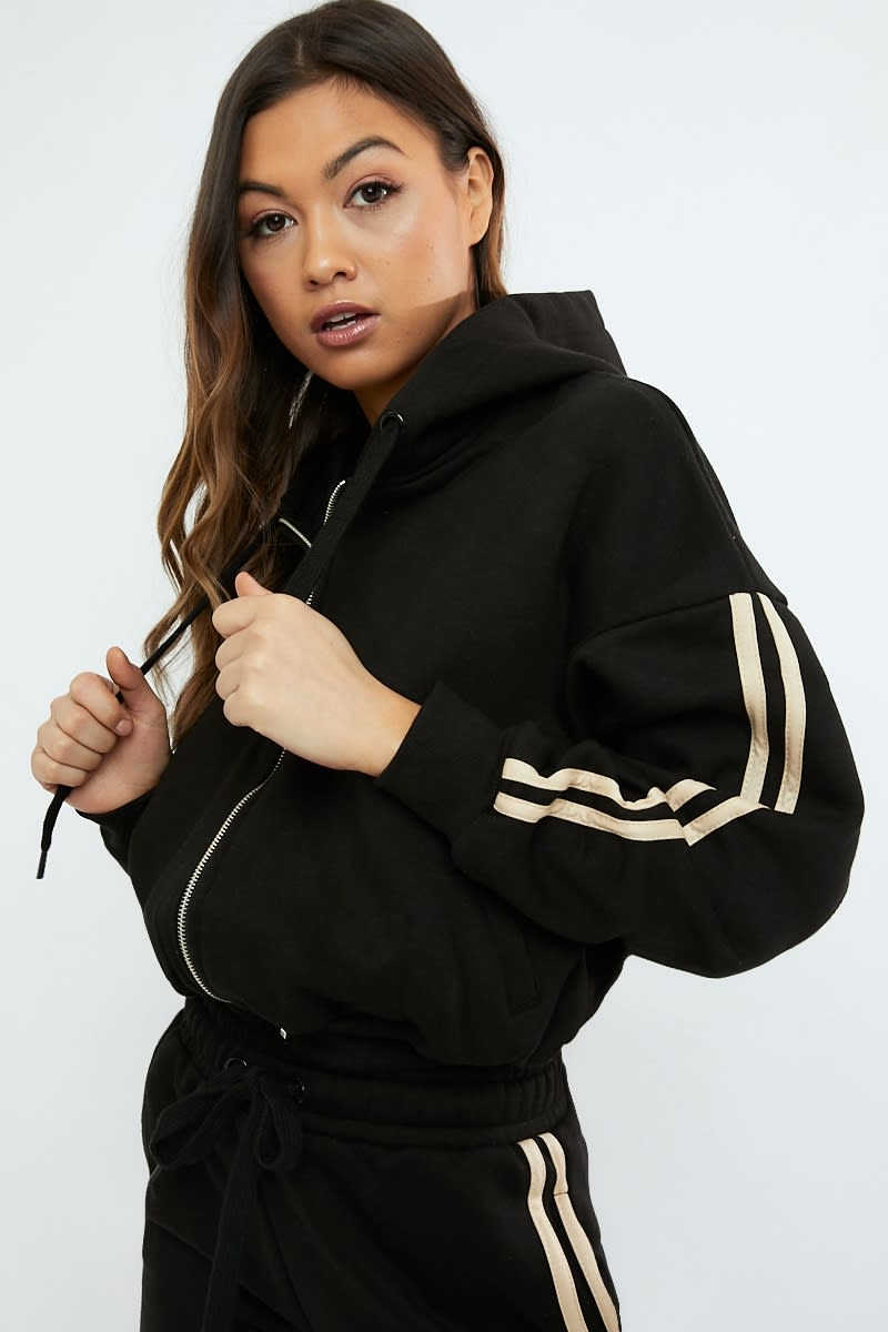 black oversized contrast stripe loungewear hoodie