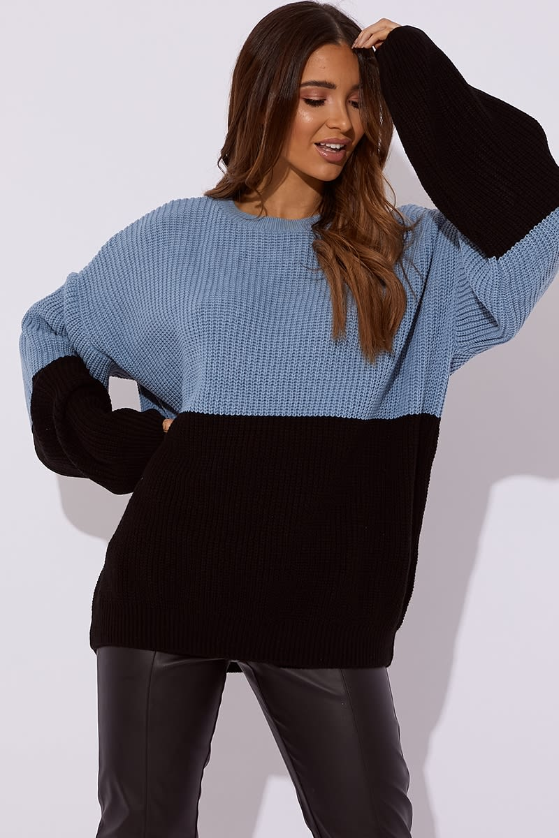 blue colour block oversized knitted jumper