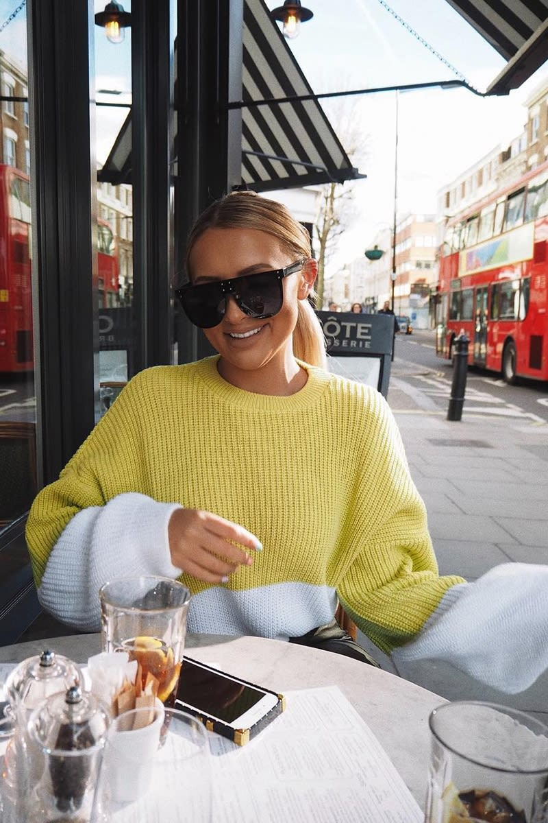 lime colour block oversized knitted jumper
