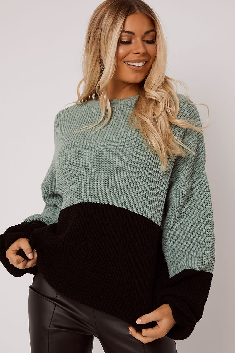 green colour block oversized knitted jumper