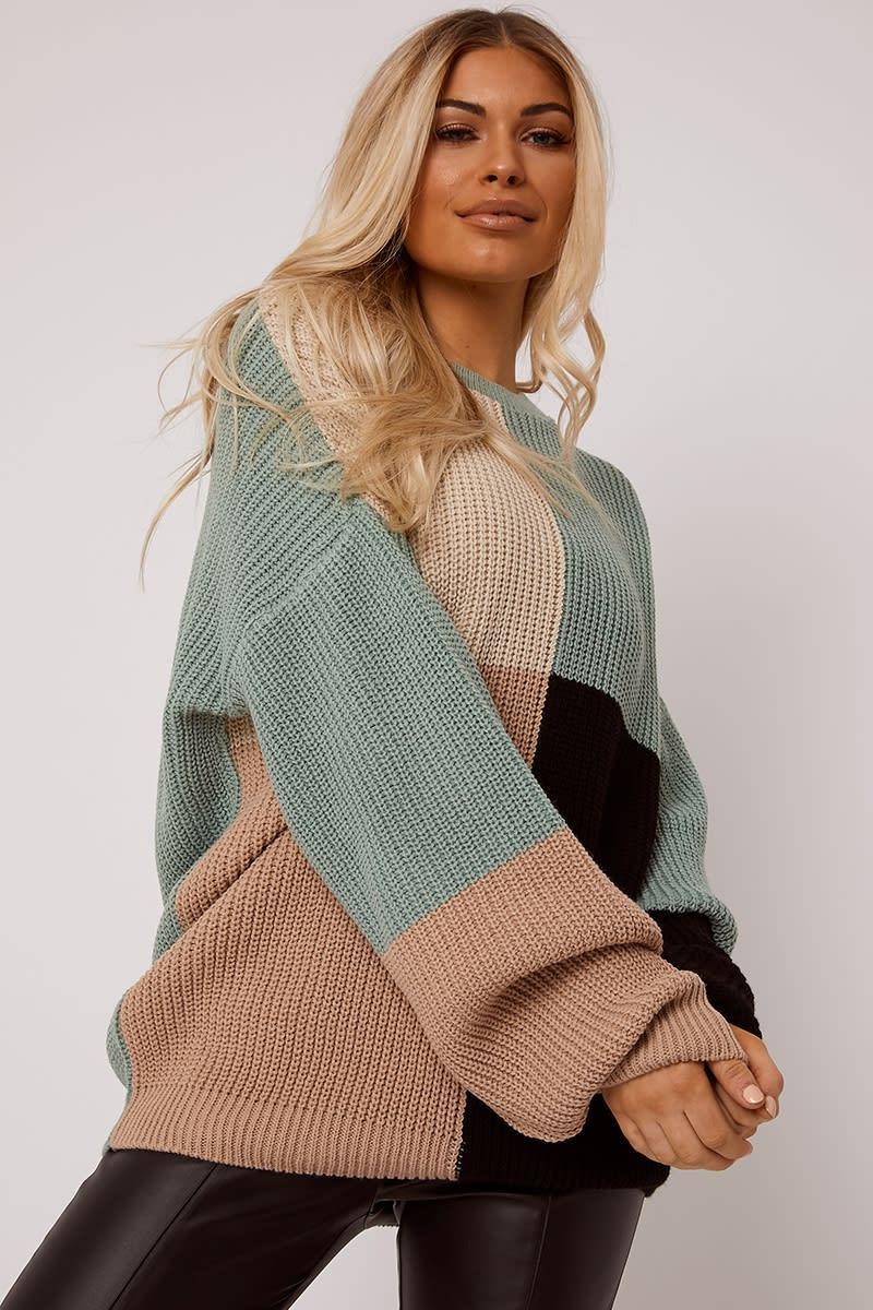 green multi colour block oversized knitted jumper