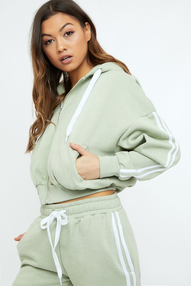 sage green oversized contrast stripe hoodie