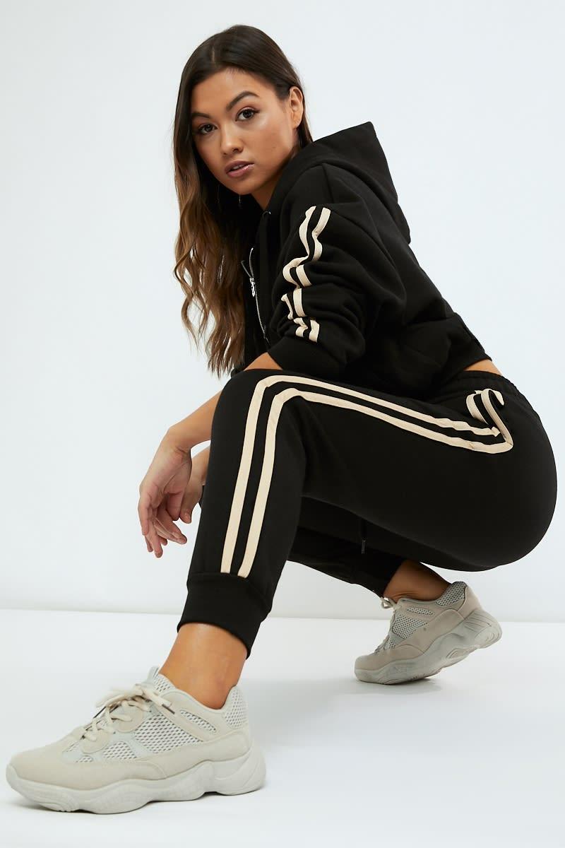 black contrast stripe panel loungewear joggers
