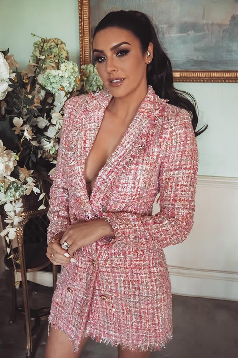 pink tweed blazer dress